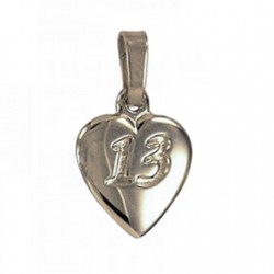 13th birthday Pendant charm Fine Silver