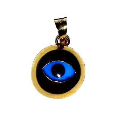 9ct yellow gold-evil-eye mati pendant round 8mm