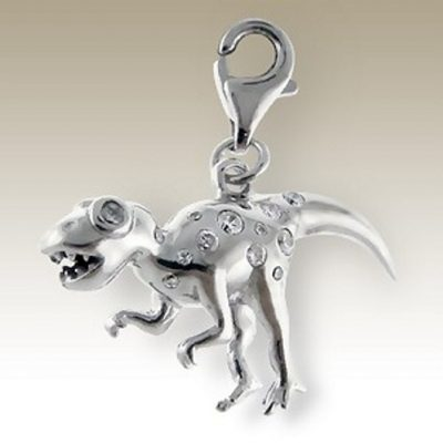 Dinosaur 3D clip on charm Sterling Silver