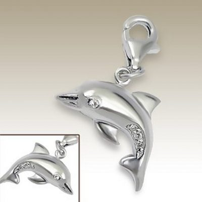 Dolphin 3D clip on charm Sterling Silver