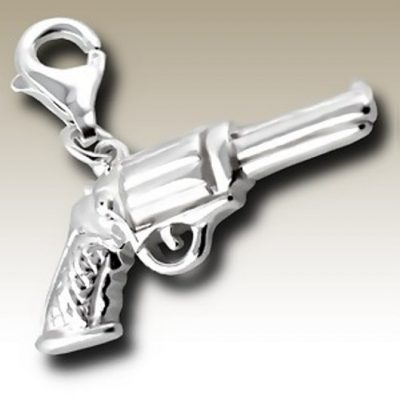 Gun clip on charm Sterling Silver