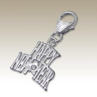 Happy New Year clip on charm Sterling Silver