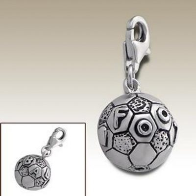Football soccer 3D clip on charm Sterling Silver