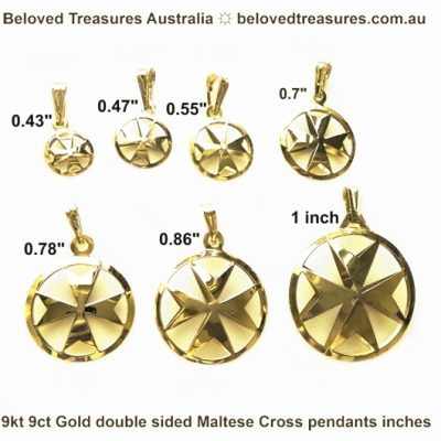 9ct gold Maltese Cross pendants double sided 7 sizes in inches