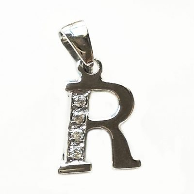 Sterling Silver letter R pendant with zirconia