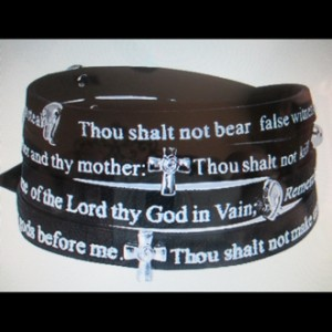 10 Commandments wrap bracelet Leather black