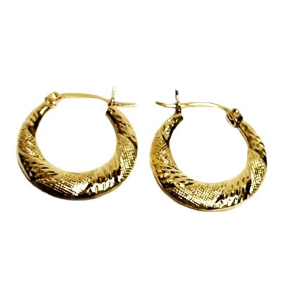 10K Gold hoop earrings diamond cut