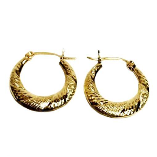 10K Gold hoop earrings diamond cut