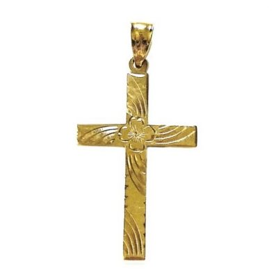 10K Gold Cross pendant ornate Vintage