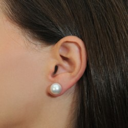 South Sea WHITE Pearl stud Earrings 14K Gold