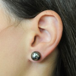 Tahitian South Sea BLACK Pearl earrings 14K Gold