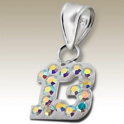 13th birthday pendant Sterling Silver crystal