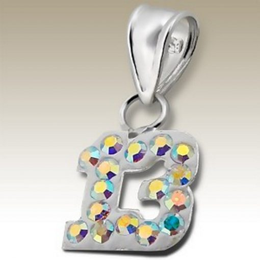 13th birthday pendant Sterling Silver crystal