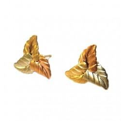 14K yellow rose white Gold stud earrings Leaf