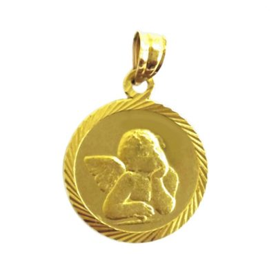 14K Gold Angel pendant medallion diamond cut
