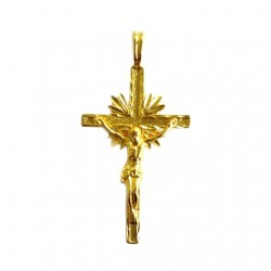 14K Gold Crucifix pendant diamond cut