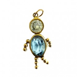 14K Gold gem baby charm pendant blue