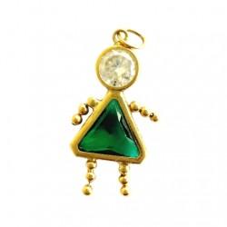 14K Gold gem baby charm pendant green