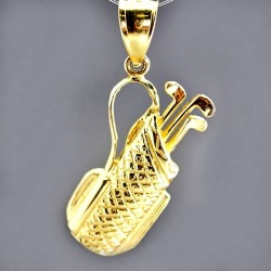 14K Gold Golf clubs bag pendant