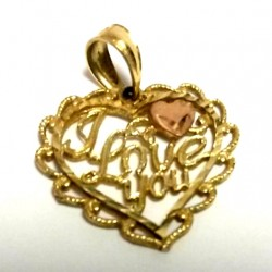 14K yellow rose Gold heart pendant I Love you