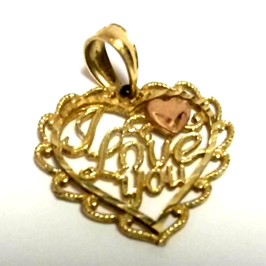 14k yellow rose gold heart pendant i love you beloved treasures 14k yellow rose gold heart pendant i love you mozeypictures Gallery