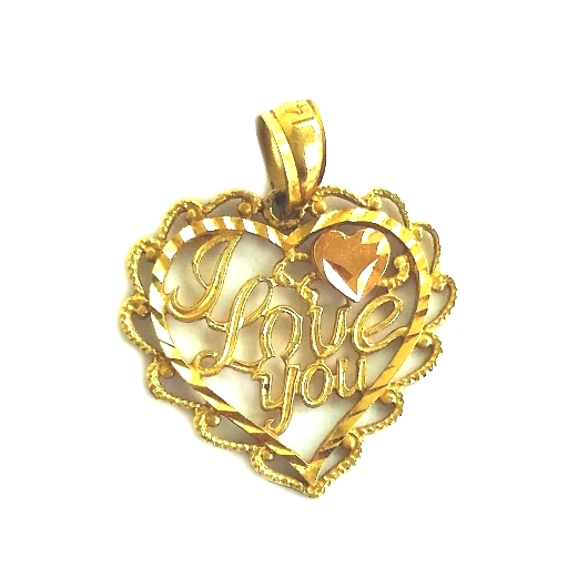 14k yellow rose gold heart pendant i love you beloved treasures 14k yellow rose gold heart pendant i love mozeypictures Images
