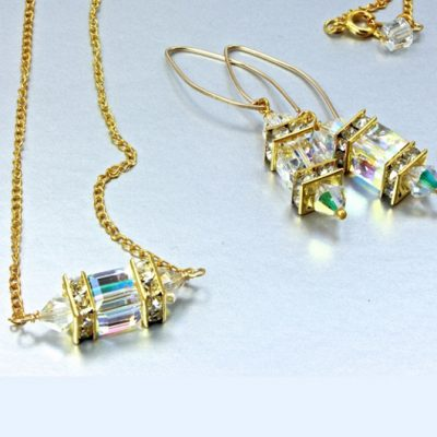 14K gold filled earrings 18K GF necklace set Swarovski CLEAR