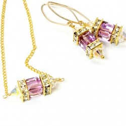 14k gold filled Swarovski crystal Lantern earrings and necklace set Light Amethyst.