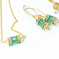 Swarovski crystal Lantern earrings and pendant PACIFIC OPAL cube and AB bicones on 18K gold filled 45cm chain.