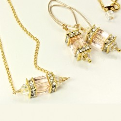 Swarovski crystal Lantern earrings and pendant SILK cube and AB bicones on 18K gold filled 45cm chain.
