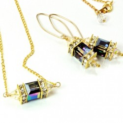 14K gold filled Swarovski crystal Lantern earrings and pendant Vitrail Medium cube and AB bicones with 18K gold filled chain 45cm.