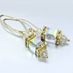14K gold filled earrings Swarovski crystal CLEAR