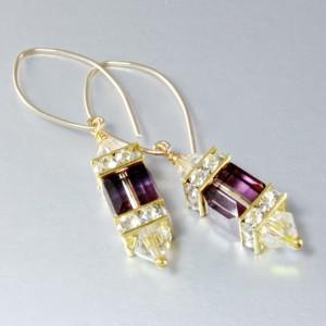 14K gold filled earrings Swarovski crystal LILAC