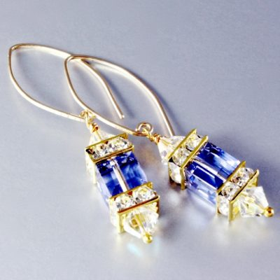14K gold filled earrings Swarovski crystal Provence Lavender