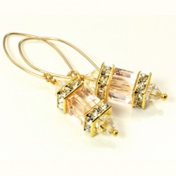 14K gold filled Swarovski crystal Lantern earrings SILK cube and AB bicones.