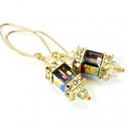 14K gold filled Swarovski crystal Lantern earrings Vitrail Medium cube and AB bicones.