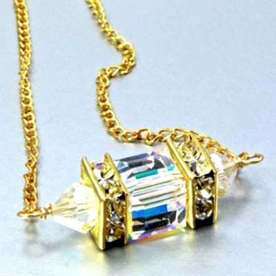 18K gold filled necklace Swarovski crystal CLEAR AB