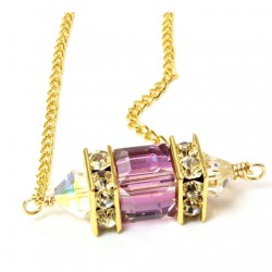 14k gold filled Swarovski crystal Lantern pendant Light Amethyst.