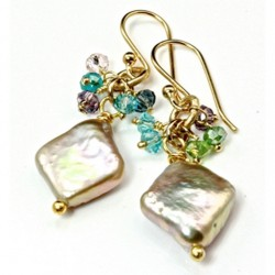 14K gold filled earrings Freshwater Pearl Crystal