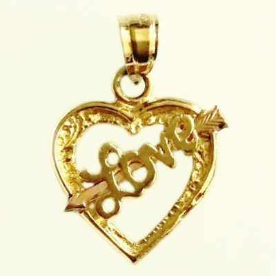 14K yellow rose Gold Love heart charm pendant