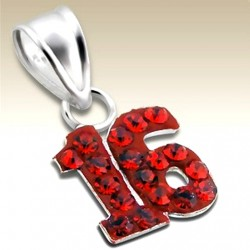 16th birthday pendant Sterling Silver crystal