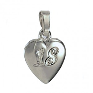 18th birthday Pendant charm Fine Silver