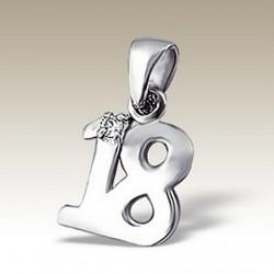 18th birthday Pendant charm Sterling Silver