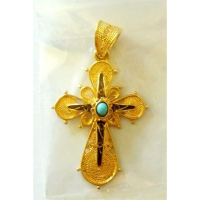 18ct Gold filigree Cross pendant Greece