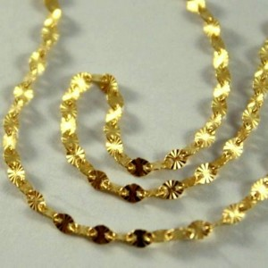 18ct Gold chain Star diamond cut 45cm Italy
