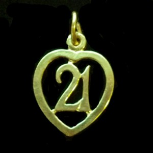 21st birthday heart pendant charm 9ct Gold