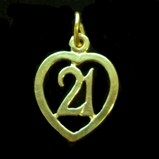 21st Birthday Heart Pendant Charm 9ct Gold. Number 21