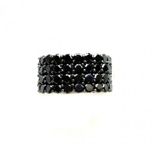 Ring Sterling Silver jet black zirconia