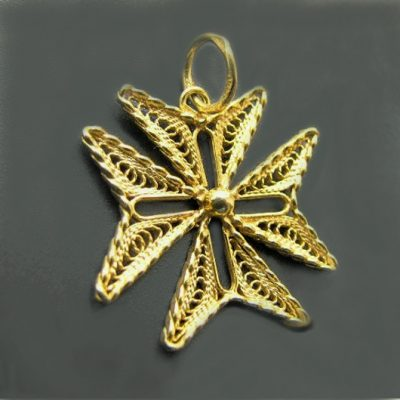 9ct Gold Maltese Cross filigree pendant Knights of St John hand-made in Malta
