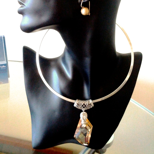 Swarovski Crystal Necklace Pendant Sterling Silver De Art